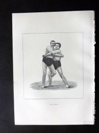 Badminton Library 1889 Wrestling Print. The Hank